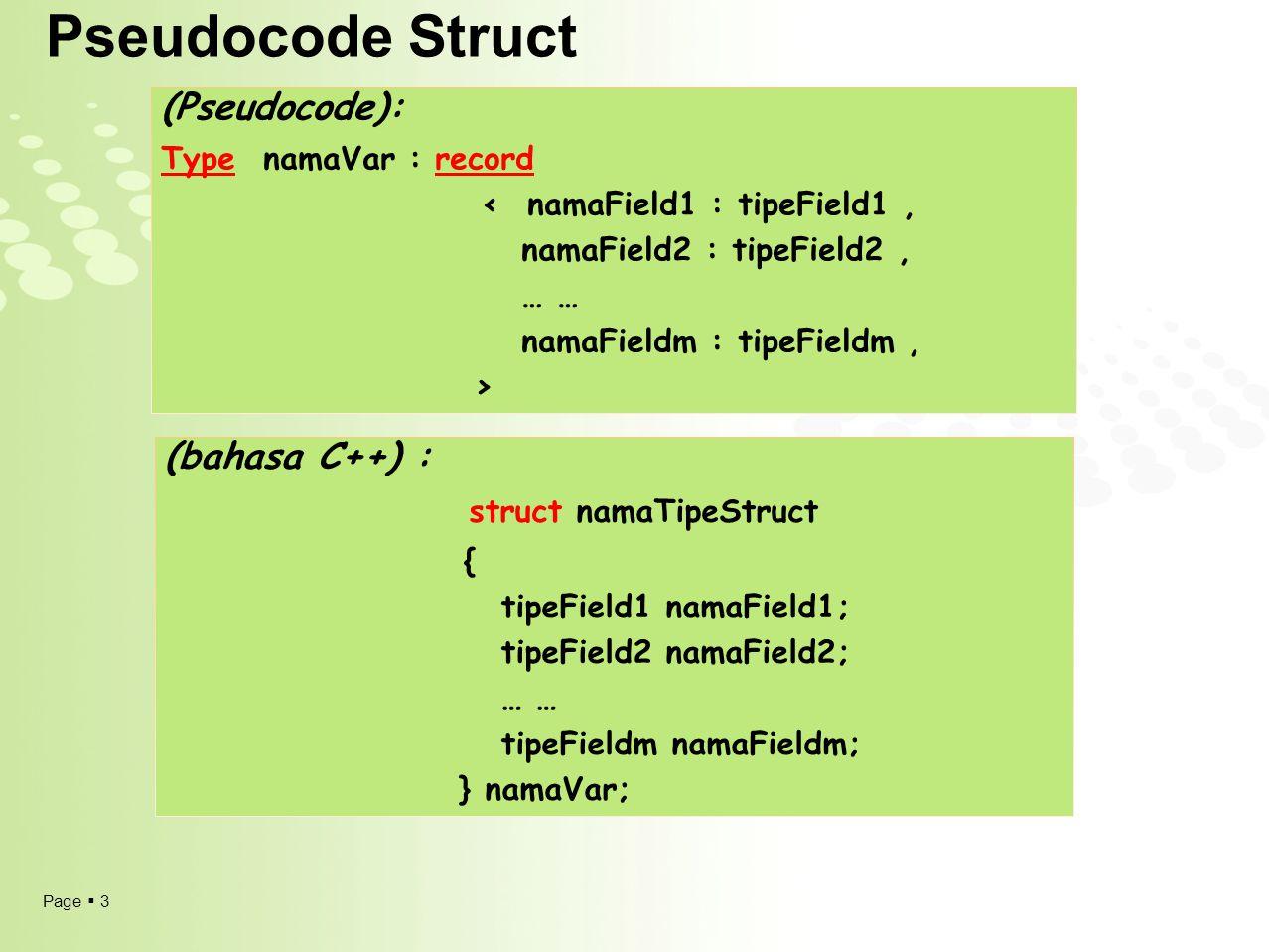 Page  4 Pseudocode Struct (Pseudocode): Type namaVar : record < namaField1 : tipeField1, namaField2 : tipeField2, … … namaFieldm : tipeFieldm, > (bahasa C++) : struct namaTipeStruct { tipeField1 namaField1; tipeField2 namaField2; … … tipeFieldm namaFieldm; } namaVar;