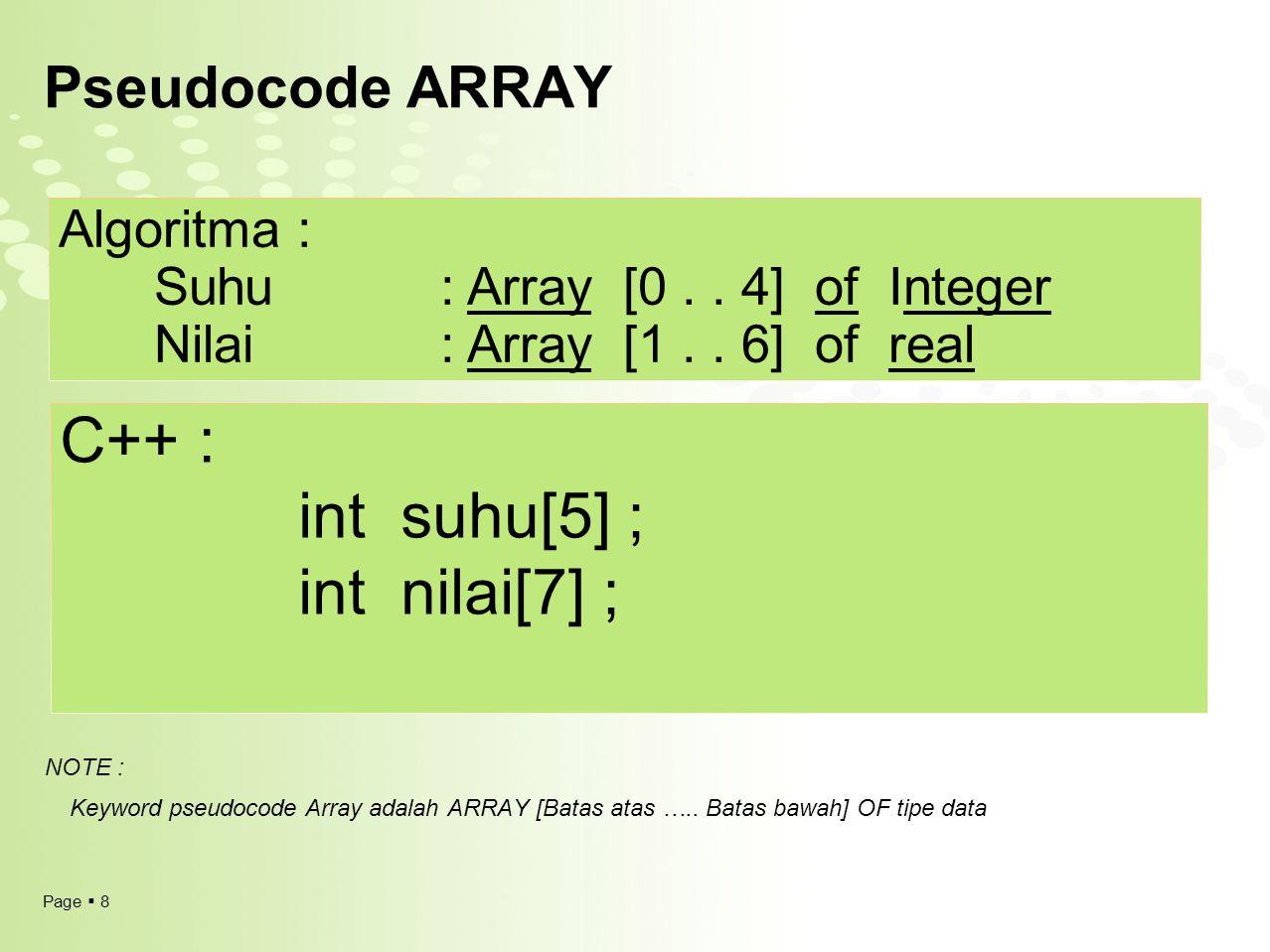 Page  8 Pseudocode ARRAY Algoritma : Suhu : Array [0.. 4] of Integer Nilai: Array [1.. 6] of real C++ : int suhu[5] ; int nilai[7] ; NOTE : Keyword p