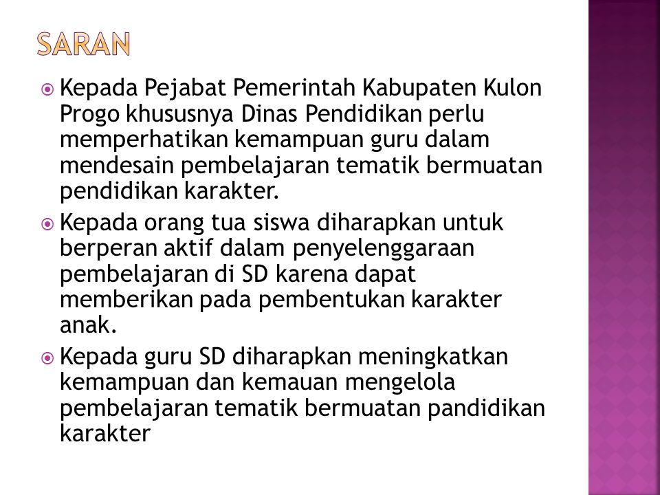  Kepada Pejabat Pemerintah Kabupaten Kulon Progo khususnya Dinas Pendidikan perlu memperhatikan kemampuan guru dalam mendesain pembelajaran tematik bermuatan pendidikan karakter.