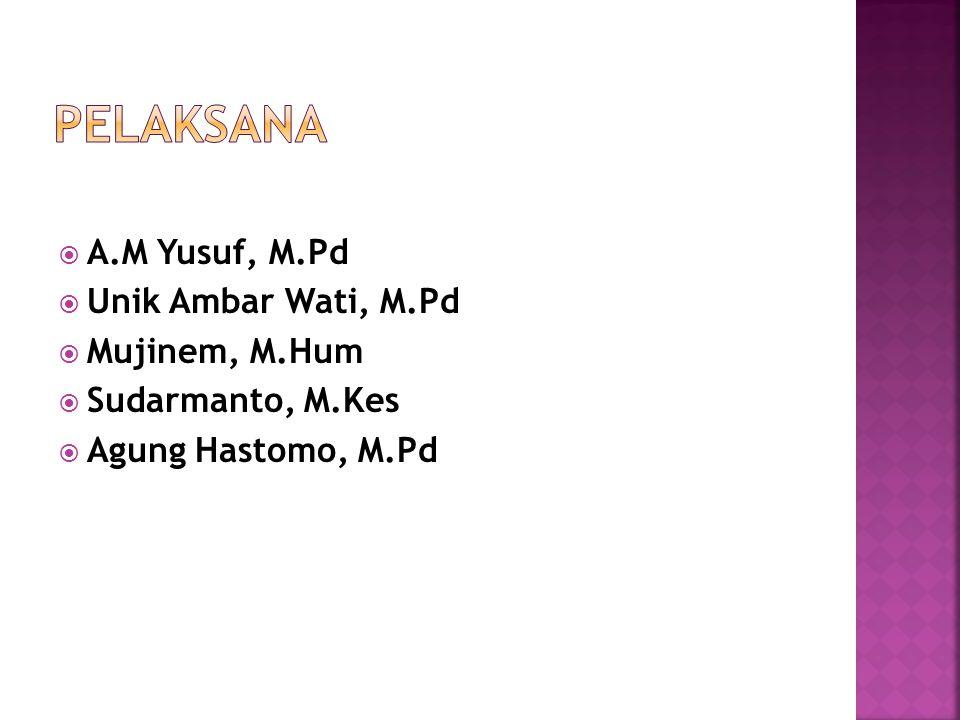  A.M Yusuf, M.Pd  Unik Ambar Wati, M.Pd  Mujinem, M.Hum  Sudarmanto, M.Kes  Agung Hastomo, M.Pd