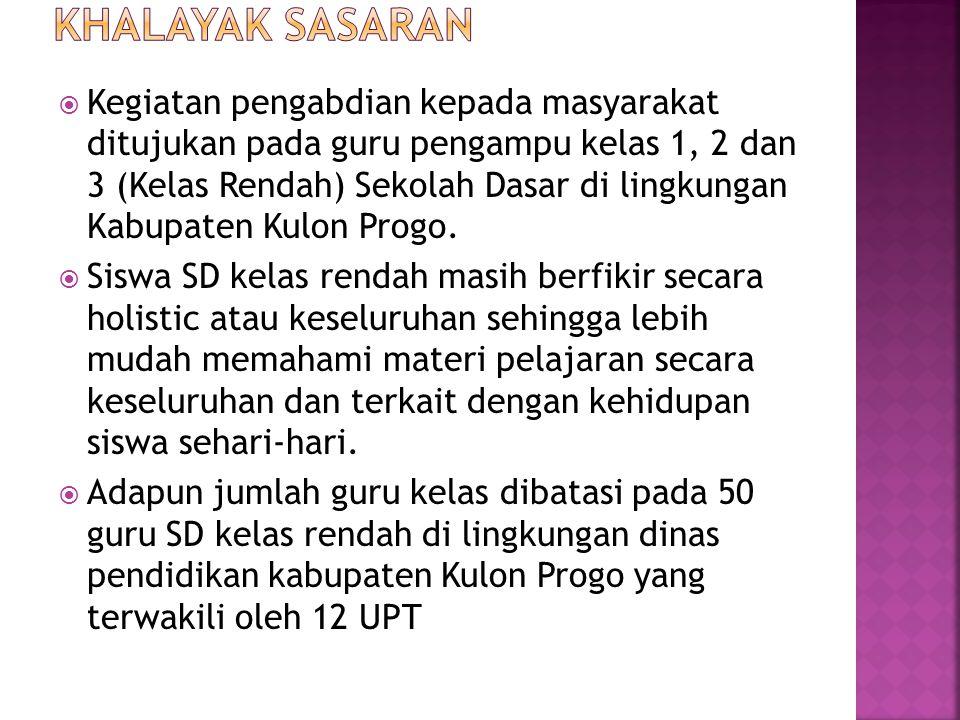  Kegiatan pengabdian kepada masyarakat ditujukan pada guru pengampu kelas 1, 2 dan 3 (Kelas Rendah) Sekolah Dasar di lingkungan Kabupaten Kulon Progo.
