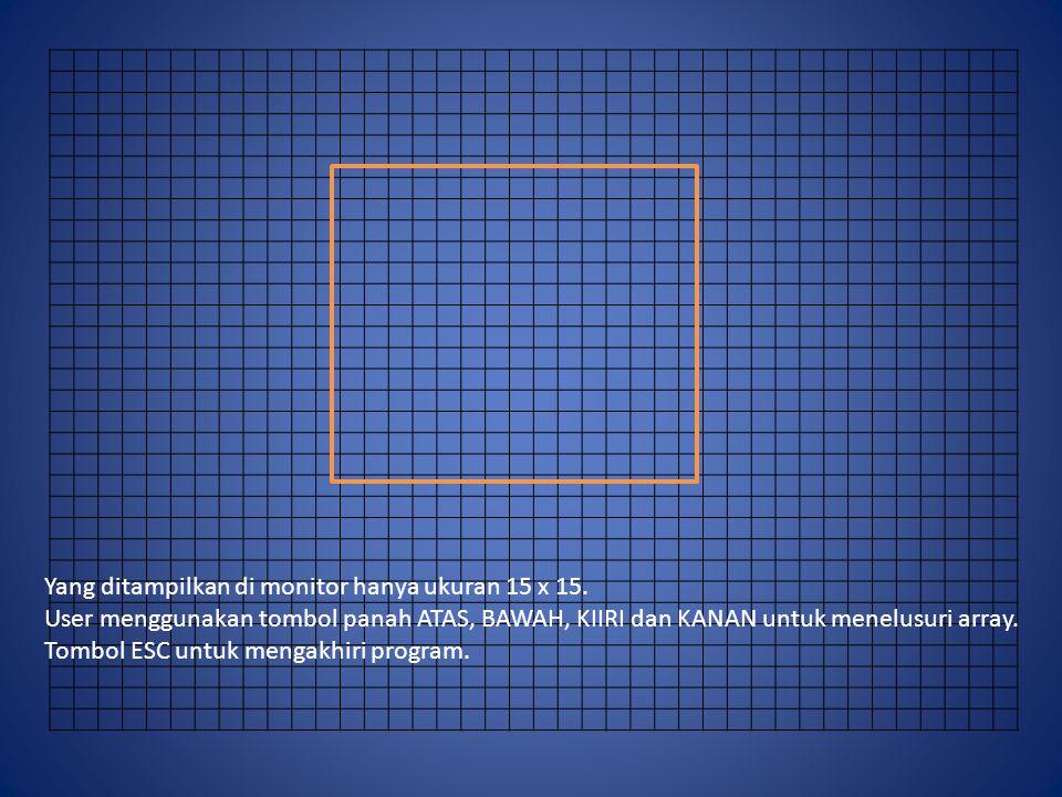 Yang ditampilkan di monitor hanya ukuran 15 x 15. User menggunakan tombol panah ATAS, BAWAH, KIIRI dan KANAN untuk menelusuri array. Tombol ESC untuk