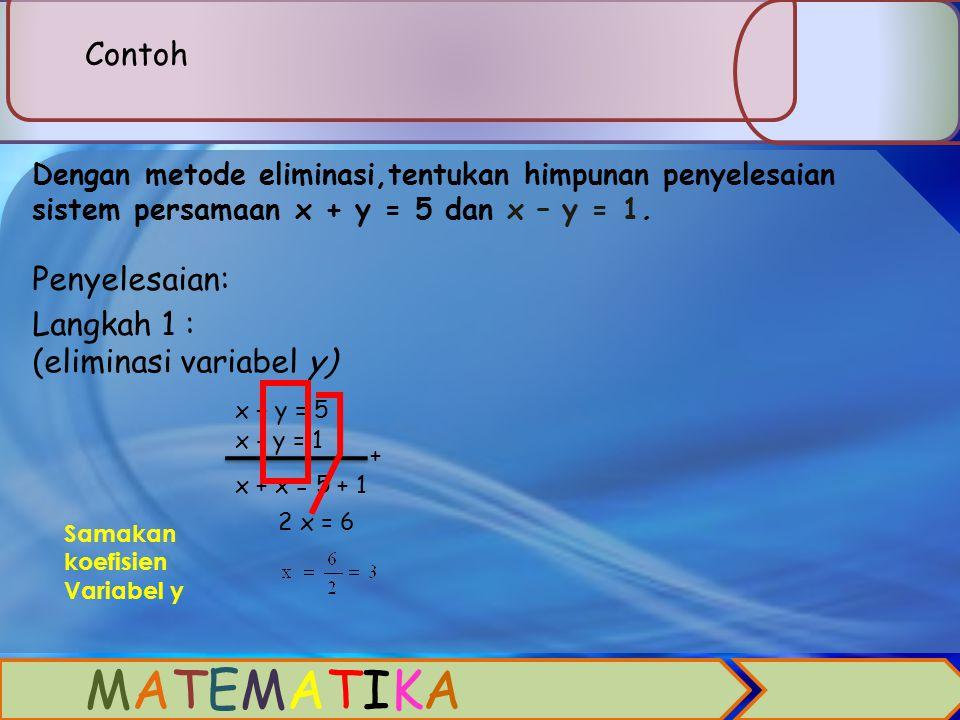 2.METODE ELIMINASI Metode eliminasi artinya menghilangkan salah satu variabel x atau y untuk mendapatkan satu penyelesaian. Jika akan mencari nilai x,