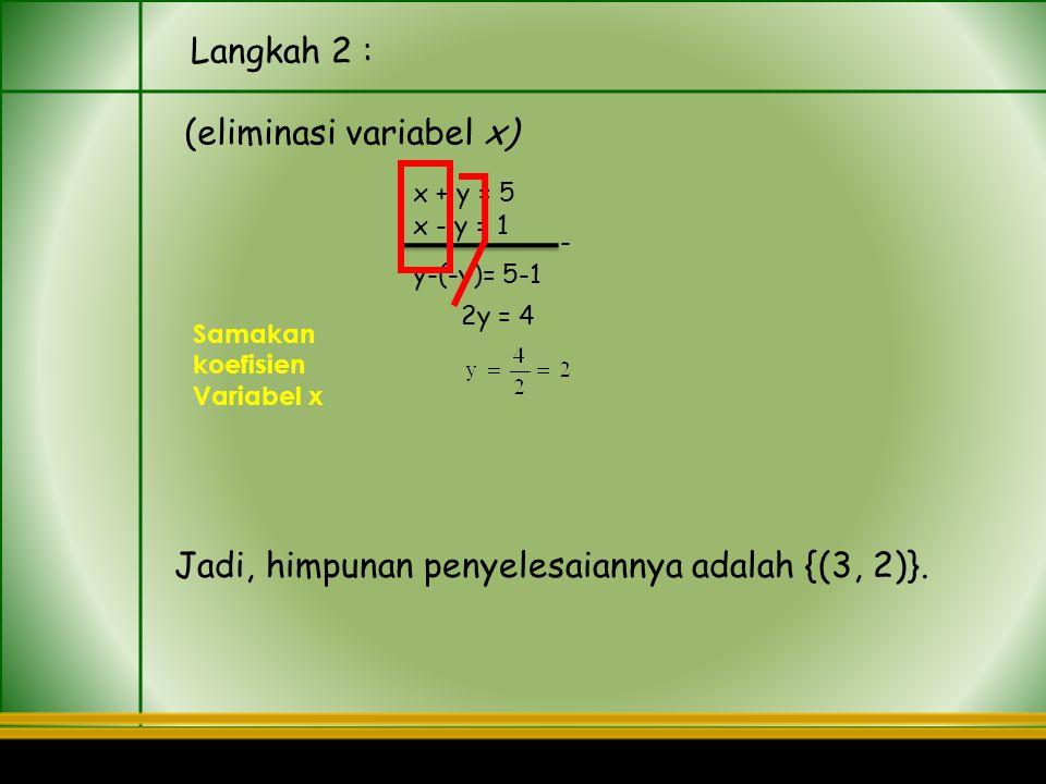 MATEMATIKA Contoh Dengan metode eliminasi,tentukan himpunan penyelesaian sistem persamaan x + y = 5 dan x – y = 1. Penyelesaian: Langkah 1 : (eliminas