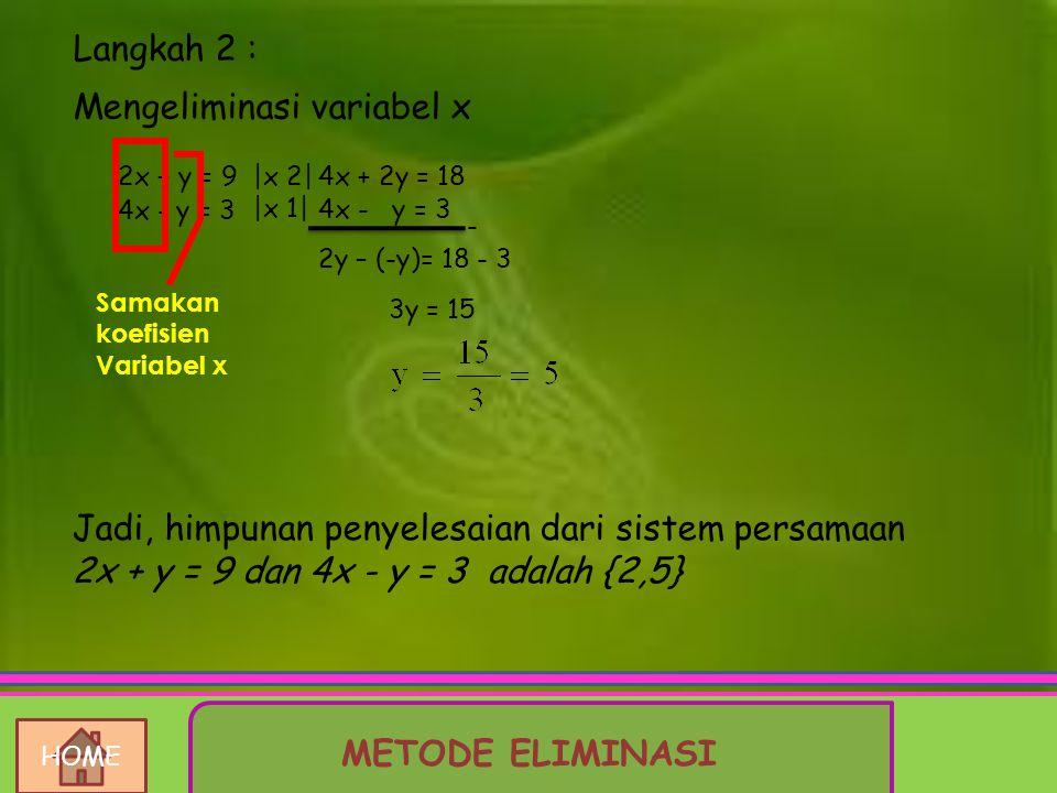 Soal : Tentukan himpunan penyelesaian sistem persamaan 2x + y = 9 dan 4x - y = 3 dengan menggunakan metode eliminasi, jika x dan y variabel pada himpu