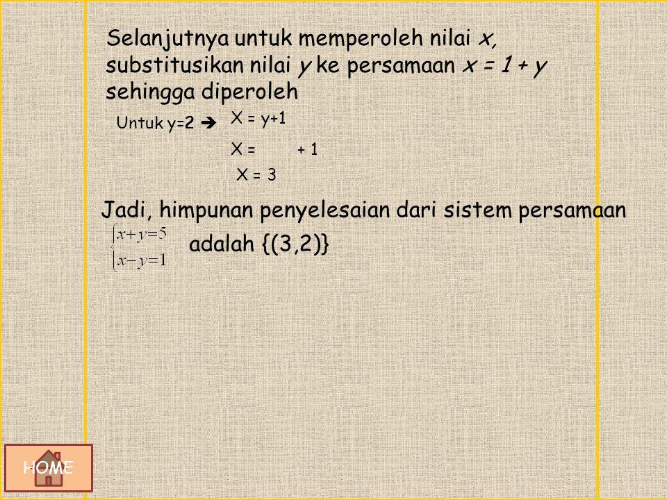 PENYELESAIAN : Persamaan x – y = 1 ekuivalen dengan x = 1 + y. Substitusikan persamaan x = 1 + y ke persamaan x + y = 5 diperoleh sebagai berikut. x +