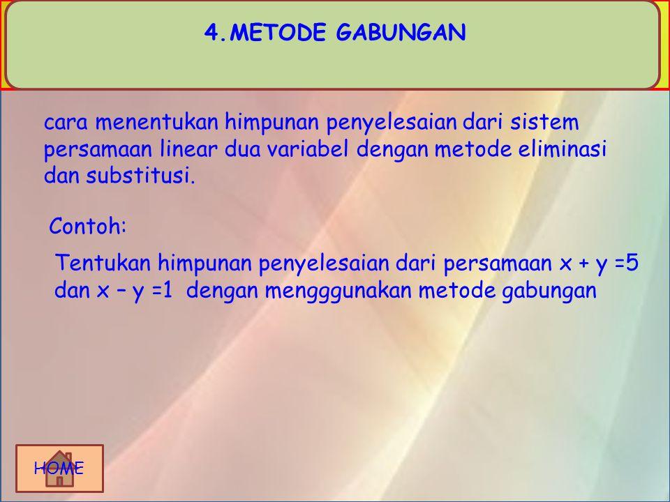 HOME Selanjutnya Untuk x= y = 2 - x Jadi, himpunan penyelesaian dari sistem persamaan x - y = 5 dan x + y = 2 adalah {(7/2,-3/2 )}