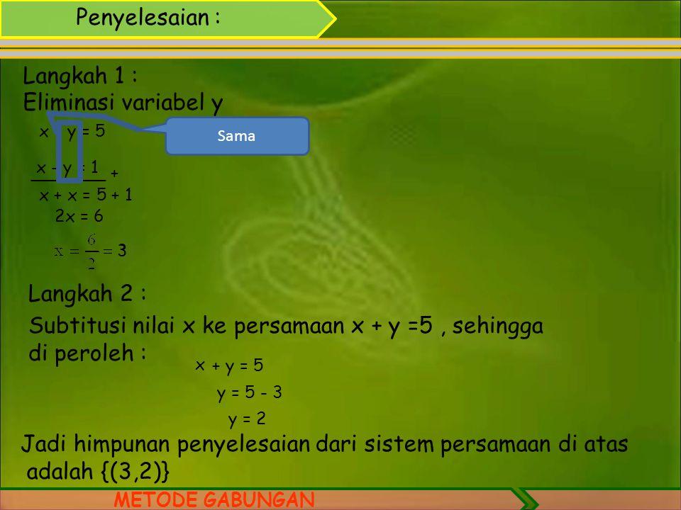 4.METODE GABUNGAN cara menentukan himpunan penyelesaian dari sistem persamaan linear dua variabel dengan metode eliminasi dan substitusi. Contoh: Tent