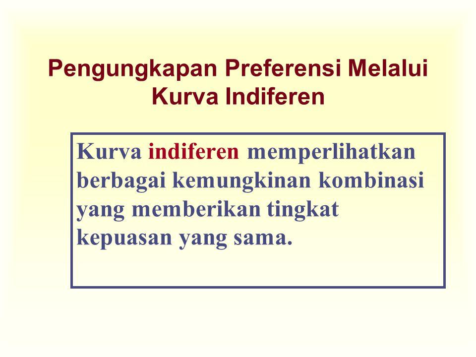Pengungkapan Preferensi Melalui Kurva Indiferen Kurva indiferen memperlihatkan berbagai kemungkinan kombinasi yang memberikan tingkat kepuasan yang sama.