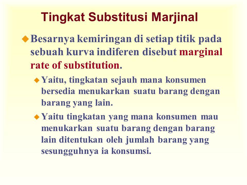 Tingkat Substitusi Marjinal u Besarnya kemiringan di setiap titik pada sebuah kurva indiferen disebut marginal rate of substitution.