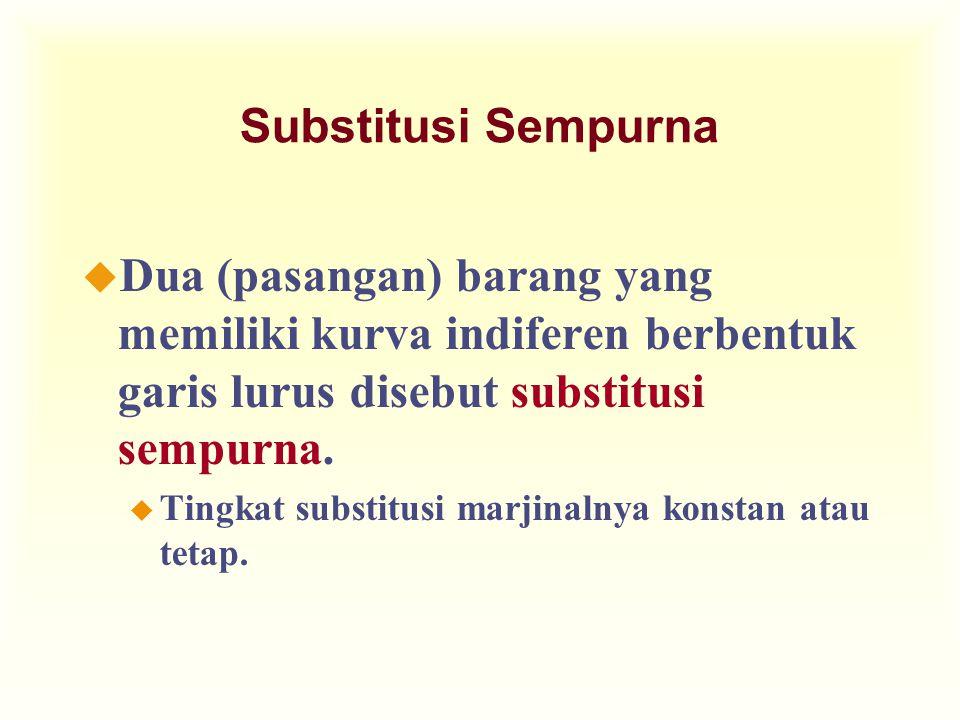 Substitusi Sempurna u Dua (pasangan) barang yang memiliki kurva indiferen berbentuk garis lurus disebut substitusi sempurna.