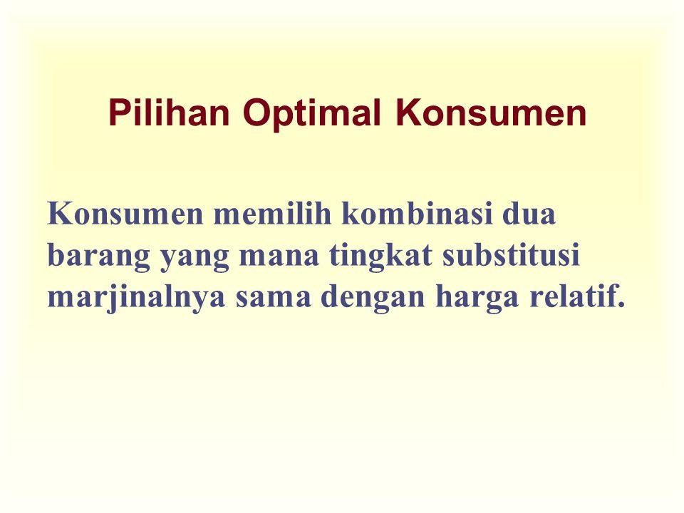 Pilihan Optimal Konsumen Konsumen memilih kombinasi dua barang yang mana tingkat substitusi marjinalnya sama dengan harga relatif.