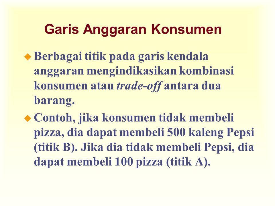 Garis Anggaran Konsumen... Kuantitas Pizza Kuantitas Pepsi 0 Kendala Anggaran Konsumen 500 B 100 A