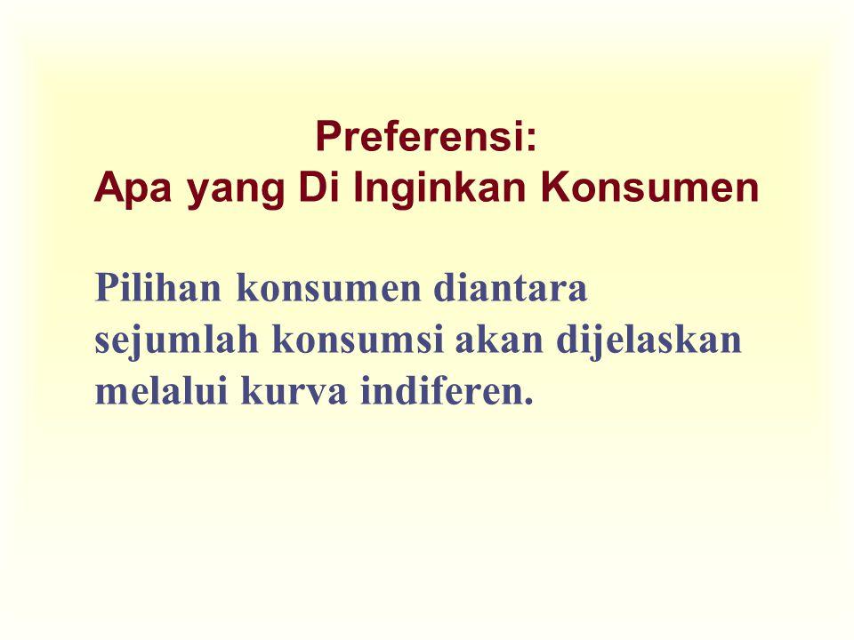 Preferensi: Apa yang Di Inginkan Konsumen Pilihan konsumen diantara sejumlah konsumsi akan dijelaskan melalui kurva indiferen.