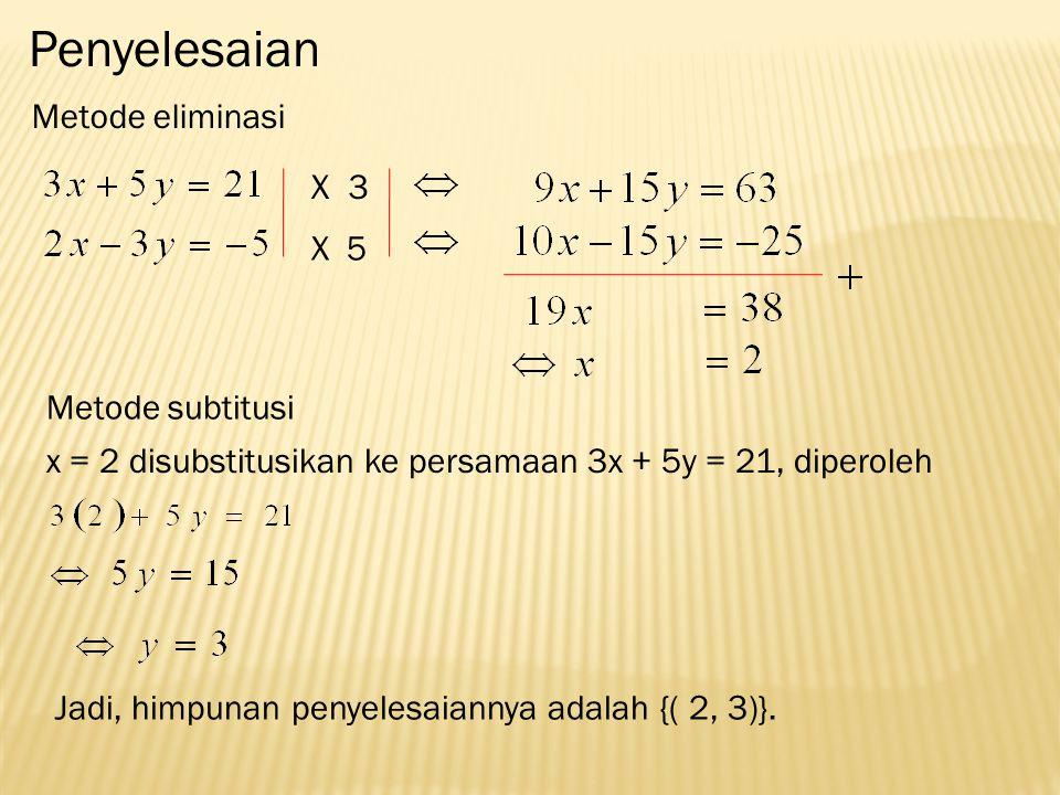 Penyelesaian Metode eliminasi X3 5X Metode subtitusi x = 2 disubstitusikan ke persamaan 3x + 5y = 21, diperoleh Jadi, himpunan penyelesaiannya adalah {( 2, 3)}.