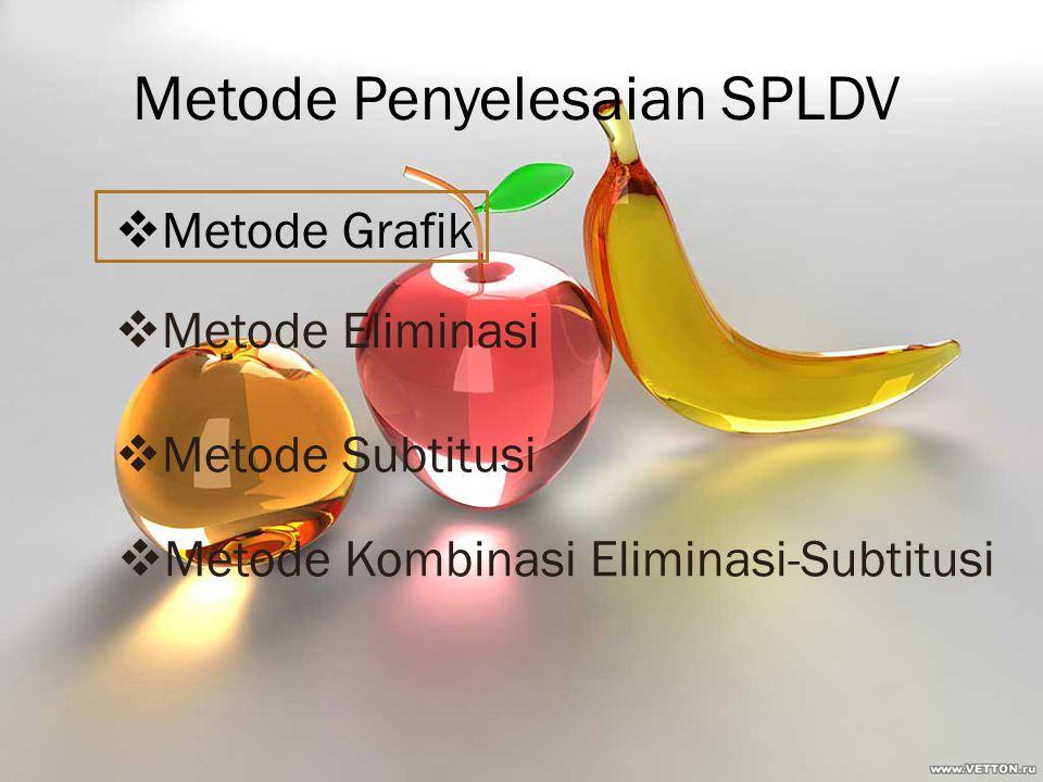 Metode Penyelesaian SPLDV  Metode Grafik  Metode Eliminasi  Metode Subtitusi  Metode Kombinasi Eliminasi-Subtitusi