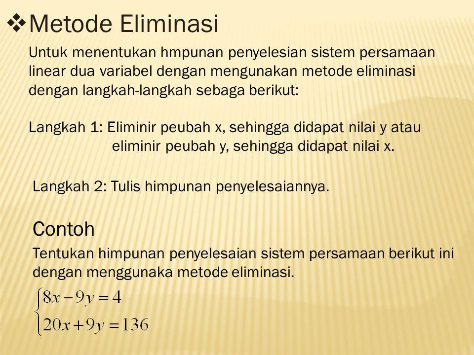  Metode Eliminasi Untuk menentukan hmpunan penyelesian sistem persamaan linear dua variabel dengan mengunakan metode eliminasi dengan langkah-langkah sebaga berikut: Langkah 1: Eliminir peubah x, sehingga didapat nilai y atau eliminir peubah y, sehingga didapat nilai x.