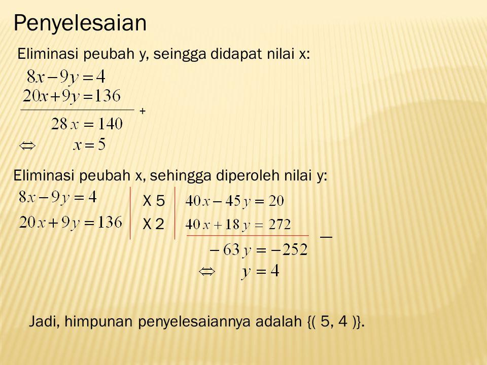 Penyelesaian Eliminasi peubah y, seingga didapat nilai x: + Eliminasi peubah x, sehingga diperoleh nilai y: 5 X2 X Jadi, himpunan penyelesaiannya adalah {( 5, 4 )}.