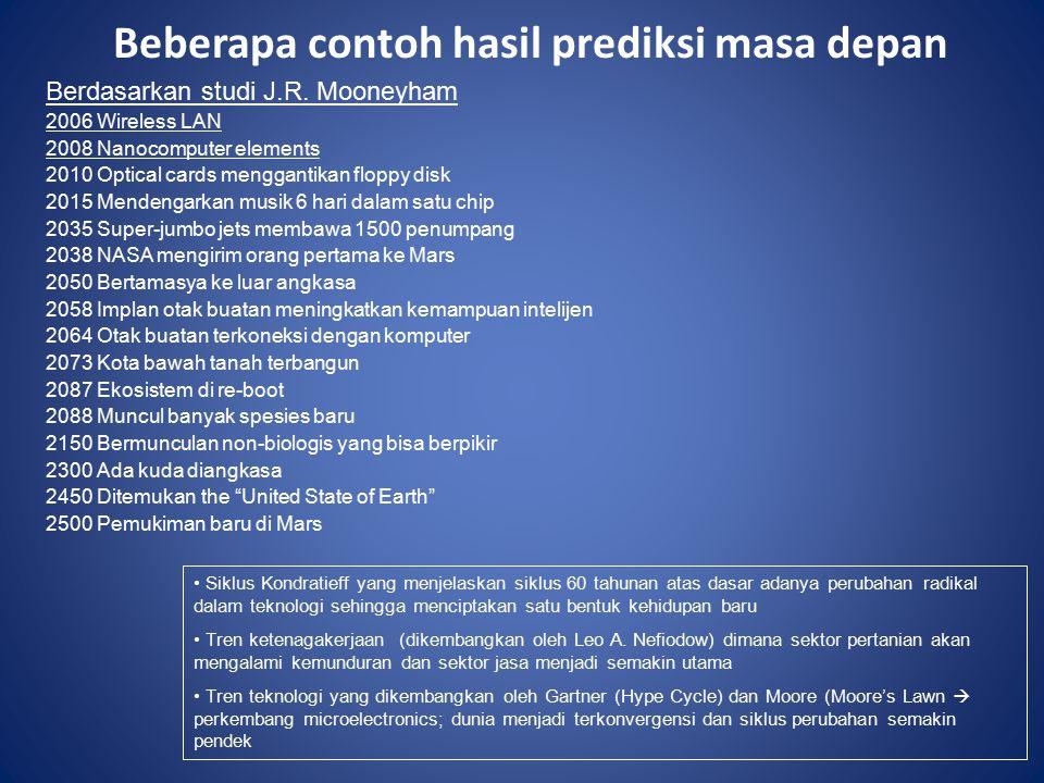Beberapa contoh hasil prediksi masa depan Berdasarkan studi J.R.