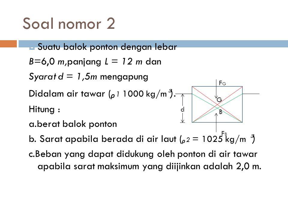 Soal nomor 2  Suatu balok ponton dengan lebar B=6,0 m,panjang L = 12 m dan Syarat d = 1,5m mengapung Didalam air tawar ( ᵨ 1 1000 kg/m ). Hitung : a.