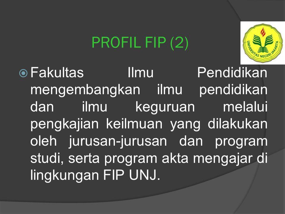 PROFIL FIP  Fakultas Ilmu Pendidikan (FIP) merupakan unsur pelaksana Universitas Negeri Jakarta (UNJ) dalam bidang: 1. pendidikan dan pengajaran, 2.