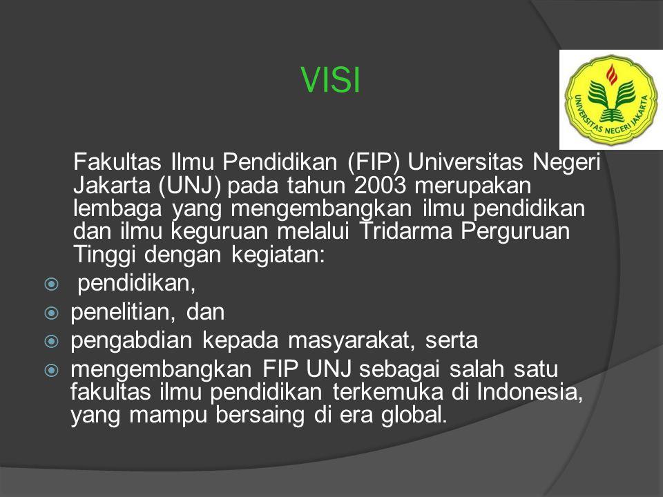 VISI Fakultas Ilmu Pendidikan (FIP) Universitas Negeri Jakarta (UNJ) pada tahun 2003 merupakan lembaga yang mengembangkan ilmu pendidikan dan ilmu keguruan melalui Tridarma Perguruan Tinggi dengan kegiatan:  pendidikan,  penelitian, dan  pengabdian kepada masyarakat, serta  mengembangkan FIP UNJ sebagai salah satu fakultas ilmu pendidikan terkemuka di Indonesia, yang mampu bersaing di era global.