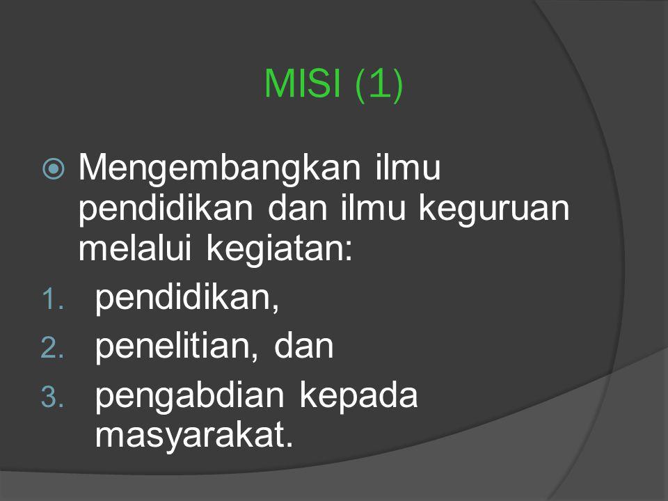 MISI (1)  Mengembangkan ilmu pendidikan dan ilmu keguruan melalui kegiatan: 1.