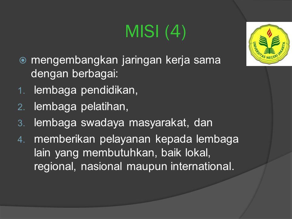 MISI (3)  menghasilkan tanaga kependidikan di bidang: 1. bimbingan dan konseling, 2. pendidikan anak, 3. pendidikan luar biasa, 4. teknologi pendidik