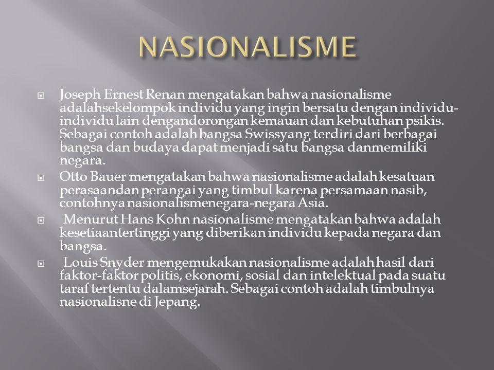  Joseph Ernest Renan mengatakan bahwa nasionalisme adalahsekelompok individu yang ingin bersatu dengan individu- individu lain dengandorongan kemauan