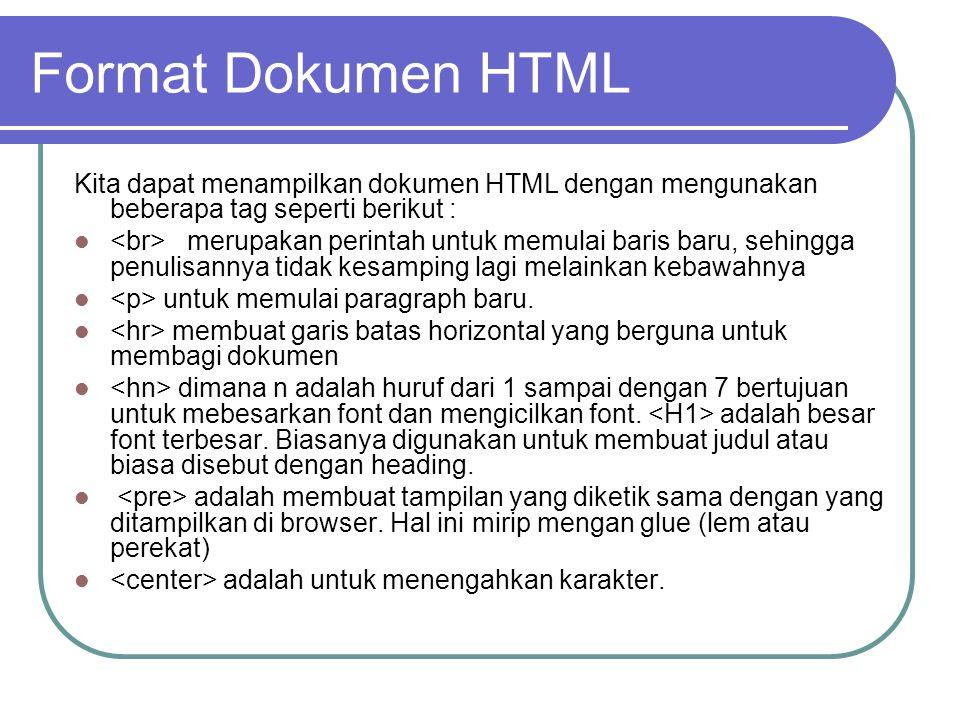 Format Dokumen HTML Kita dapat menampilkan dokumen HTML dengan mengunakan beberapa tag seperti berikut : merupakan perintah untuk memulai baris baru, sehingga penulisannya tidak kesamping lagi melainkan kebawahnya untuk memulai paragraph baru.
