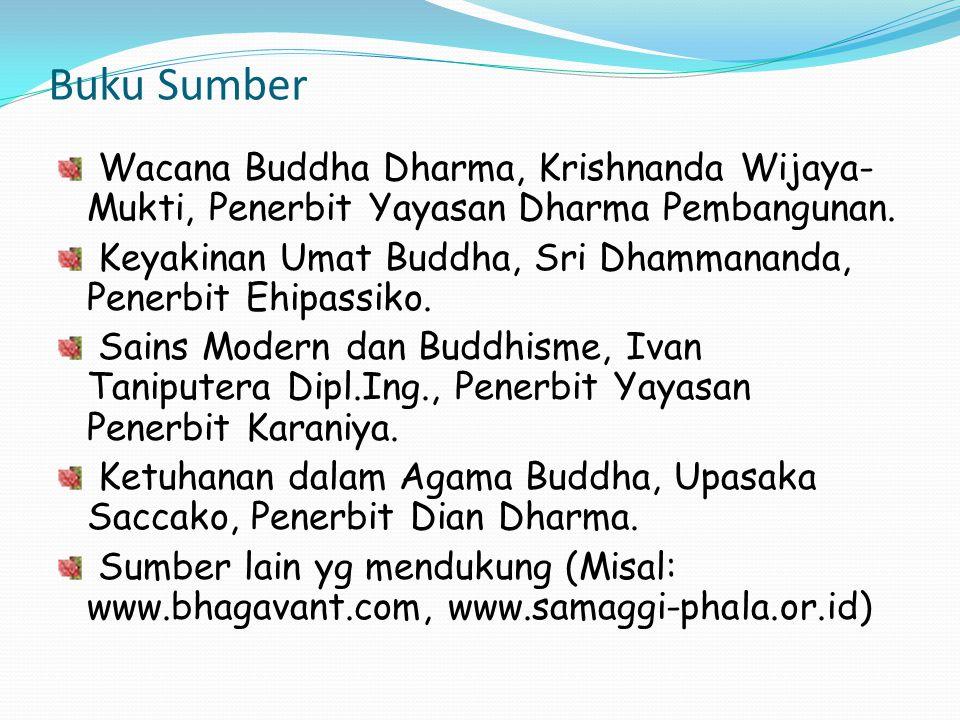 Buku Sumber Wacana Buddha Dharma, Krishnanda Wijaya- Mukti, Penerbit Yayasan Dharma Pembangunan. Keyakinan Umat Buddha, Sri Dhammananda, Penerbit Ehip