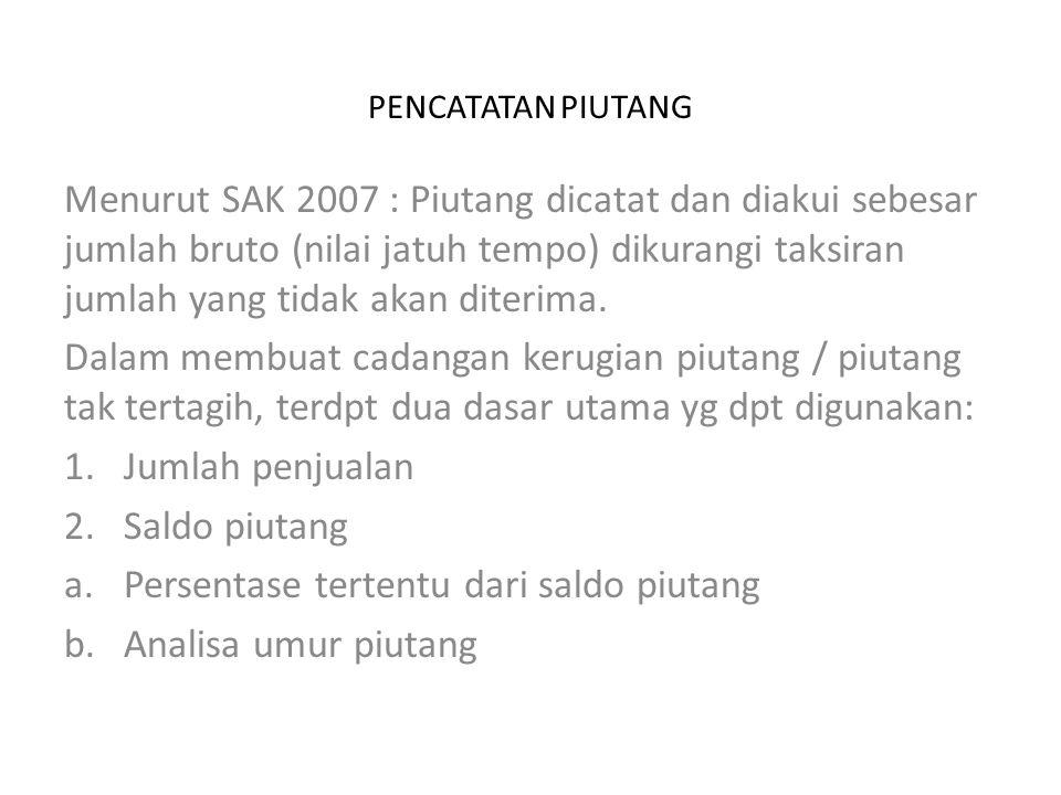 PENCATATAN PIUTANG Menurut SAK 2007 : Piutang dicatat dan diakui sebesar jumlah bruto (nilai jatuh tempo) dikurangi taksiran jumlah yang tidak akan diterima.