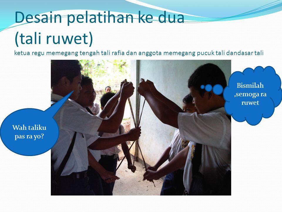 Desain pelatihan ke dua (tali ruwet) ketua regu memegang tengah tali rafia dan anggota memegang pucuk tali dandasar tali Wah taliku pas ra yo? Bismila