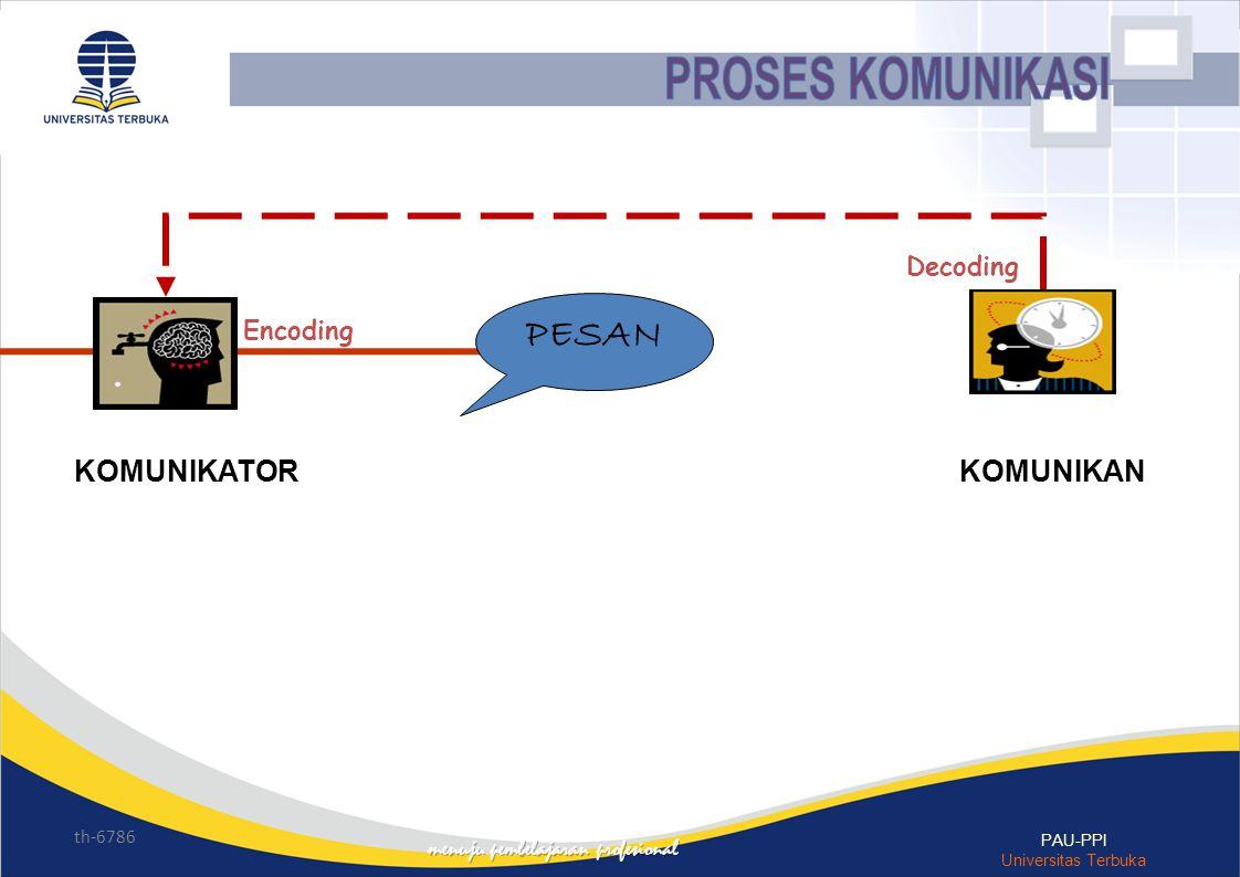 th-6786 PAU-PPI Universitas Terbuka Decoding Encoding PESAN KOMUNIKATORKOMUNIKAN