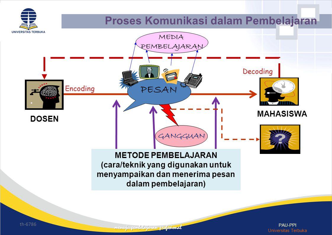 th-6786 PAU-PPI Universitas Terbuka Decoding Encoding GANGGUAN PESAN DOSEN MAHASISWA METODE PEMBELAJARAN (cara/teknik yang digunakan untuk menyampaika