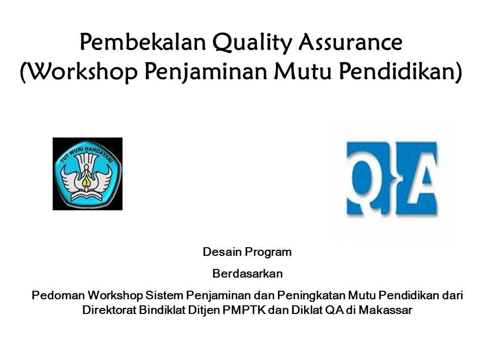 Pembekalan Quality Assurance (Workshop Penjaminan Mutu Pendidikan) Desain Program Berdasarkan Pedoman Workshop Sistem Penjaminan dan Peningkatan Mutu Pendidikan dari Direktorat Bindiklat Ditjen PMPTK dan Diklat QA di Makassar
