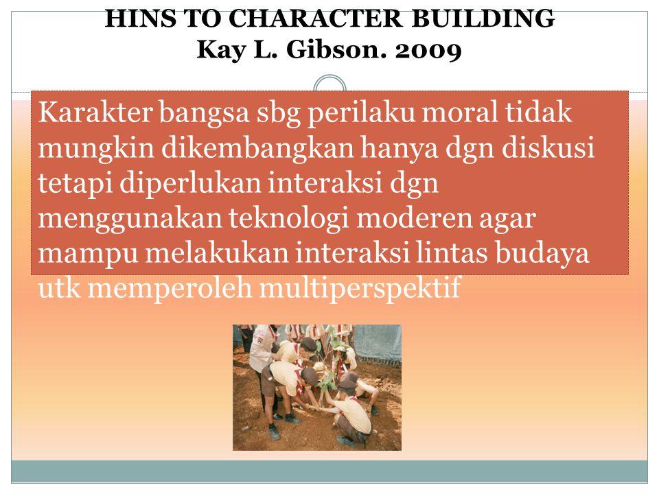 HINS TO CHARACTER BUILDING Kay L. Gibson. 2009 Karakter bangsa sbg perilaku moral tidak mungkin dikembangkan hanya dgn diskusi tetapi diperlukan inter