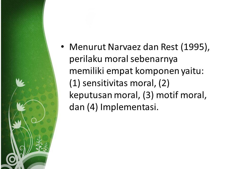 Menurut Narvaez dan Rest (1995), perilaku moral sebenarnya memiliki empat komponen yaitu: (1) sensitivitas moral, (2) keputusan moral, (3) motif moral