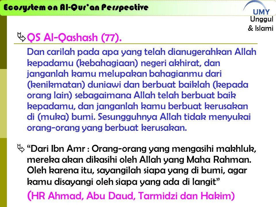 Ecosystem on Al-Qur'an Perspective Unggul & Islami  QS Al-Qashash (77). Dan carilah pada apa yang telah dianugerahkan Allah kepadamu (kebahagiaan) ne