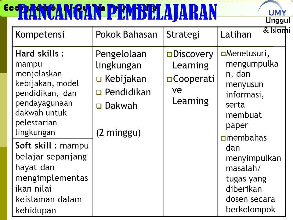 Ecosystem on Al-Qur'an Perspective Unggul & Islami RANCANGAN PEMBELAJARAN KompetensiPokok BahasanStrategiLatihan Hard skills : mampu menjelaskan kebij