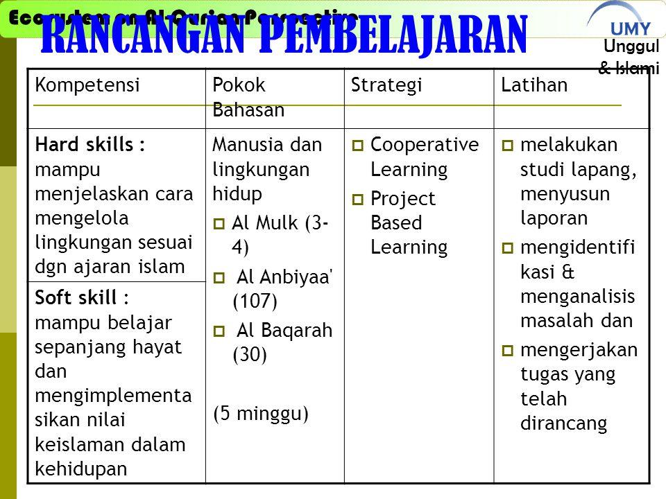 Ecosystem on Al-Qur'an Perspective Unggul & Islami RANCANGAN PEMBELAJARAN KompetensiPokok Bahasan StrategiLatihan Hard skills : mampu menjelaskan cara mengelola lingkungan sesuai dgn ajaran islam Manusia dan lingkungan hidup  Al Mulk (3- 4)  Al Anbiyaa (107)  Al Baqarah (30) (5 minggu)  Cooperative Learning  Project Based Learning  melakukan studi lapang, menyusun laporan  mengidentifi kasi & menganalisis masalah dan  mengerjakan tugas yang telah dirancang Soft skill : mampu belajar sepanjang hayat dan mengimplementa sikan nilai keislaman dalam kehidupan