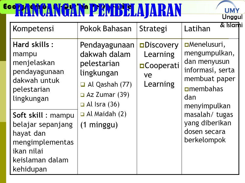 Ecosystem on Al-Qur'an Perspective Unggul & Islami RANCANGAN PEMBELAJARAN KompetensiPokok BahasanStrategiLatihan Hard skills : mampu menjelaskan pendayagunaan dakwah untuk pelestarian lingkungan Pendayagunaan dakwah dalam pelestarian lingkungan  Al Qashah (77)  Az Zumar (39)  Al Isra (36)  Al Maidah (2) (1 minggu)  Discovery Learning  Cooperati ve Learning  Menelusuri, mengumpulkan, dan menyusun informasi, serta membuat paper  membahas dan menyimpulkan masalah/ tugas yang diberikan dosen secara berkelompok Soft skill : mampu belajar sepanjang hayat dan mengimplementas ikan nilai keislaman dalam kehidupan
