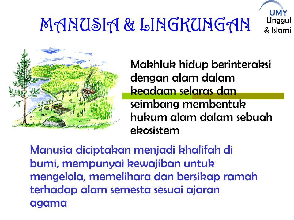 Unggul & Islami MANUSIA & LINGKUNGAN Manusia diciptakan menjadi khalifah di bumi, mempunyai kewajiban untuk mengelola, memelihara dan bersikap ramah terhadap alam semesta sesuai ajaran agama Makhluk hidup berinteraksi dengan alam dalam keadaan selaras dan seimbang membentuk hukum alam dalam sebuah ekosistem