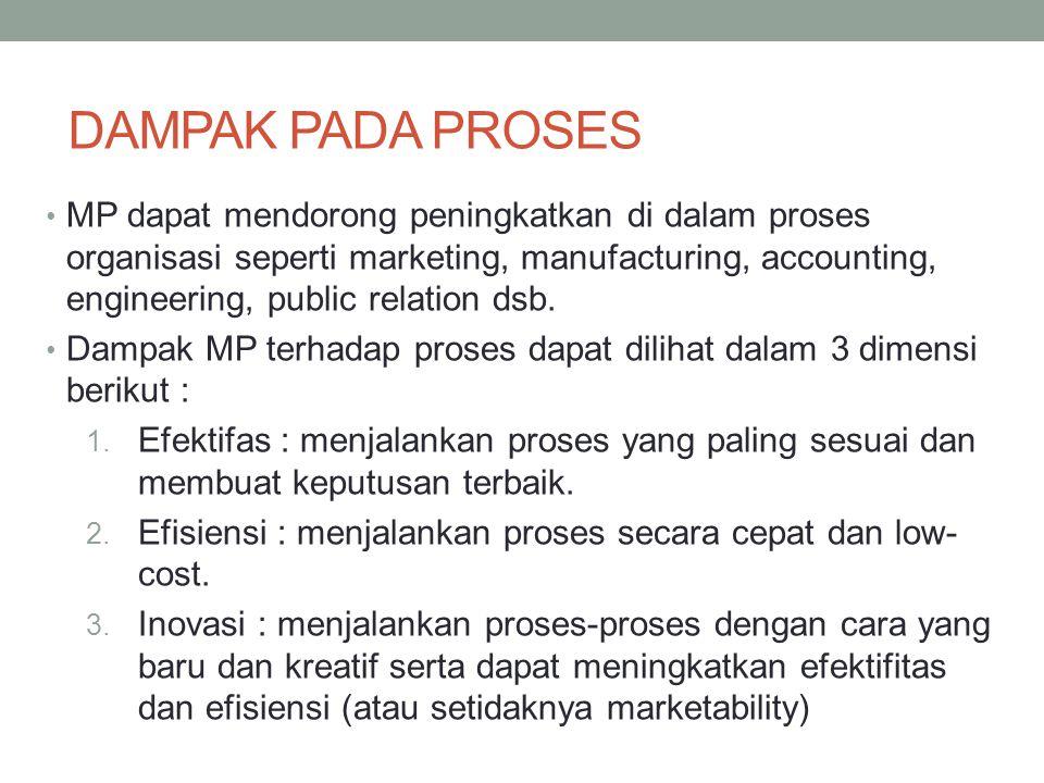 DAMPAK PADA PROSES MP dapat mendorong peningkatkan di dalam proses organisasi seperti marketing, manufacturing, accounting, engineering, public relati