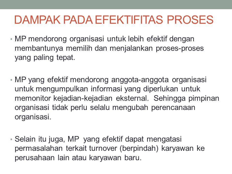 DAMPAK PADA EFEKTIFITAS PROSES MP mendorong organisasi untuk lebih efektif dengan membantunya memilih dan menjalankan proses-proses yang paling tepat.