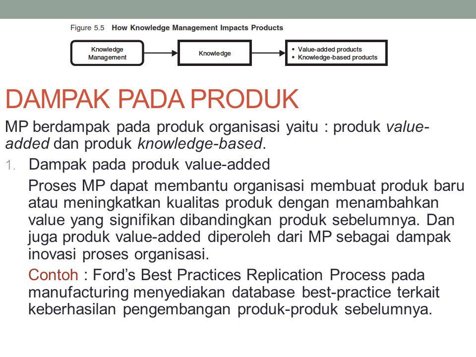 DAMPAK PADA PRODUK MP berdampak pada produk organisasi yaitu : produk value- added dan produk knowledge-based. 1. Dampak pada produk value-added Prose