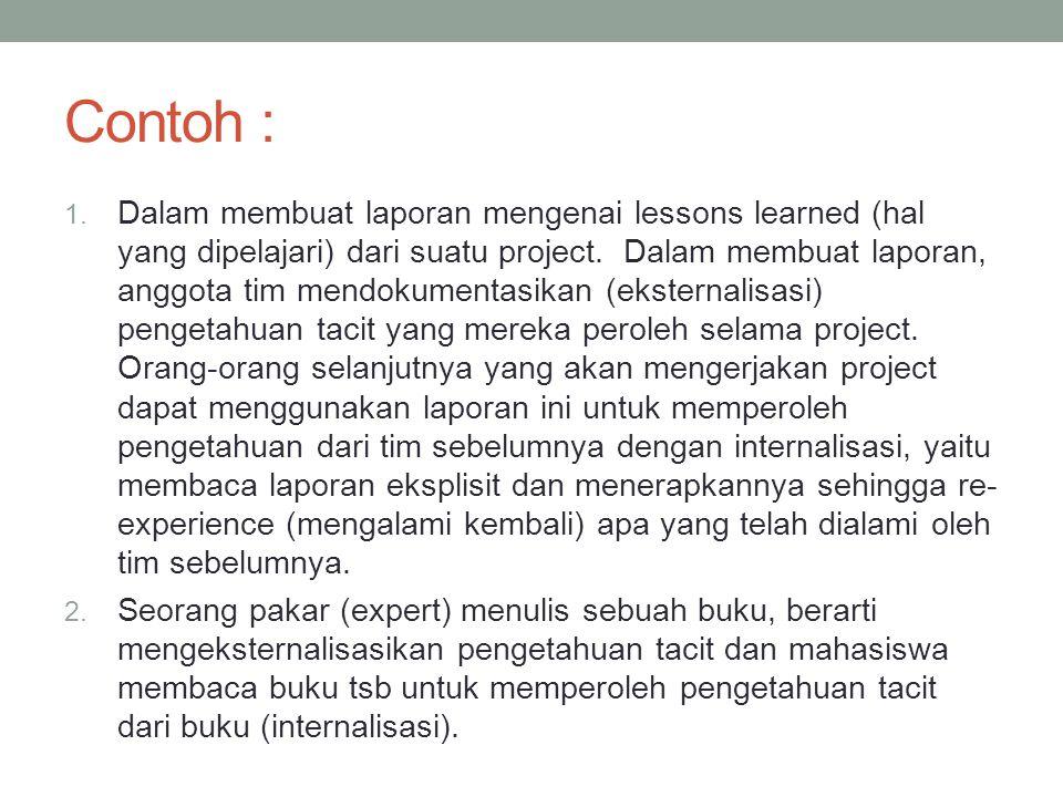 Contoh : 1. Dalam membuat laporan mengenai lessons learned (hal yang dipelajari) dari suatu project. Dalam membuat laporan, anggota tim mendokumentasi