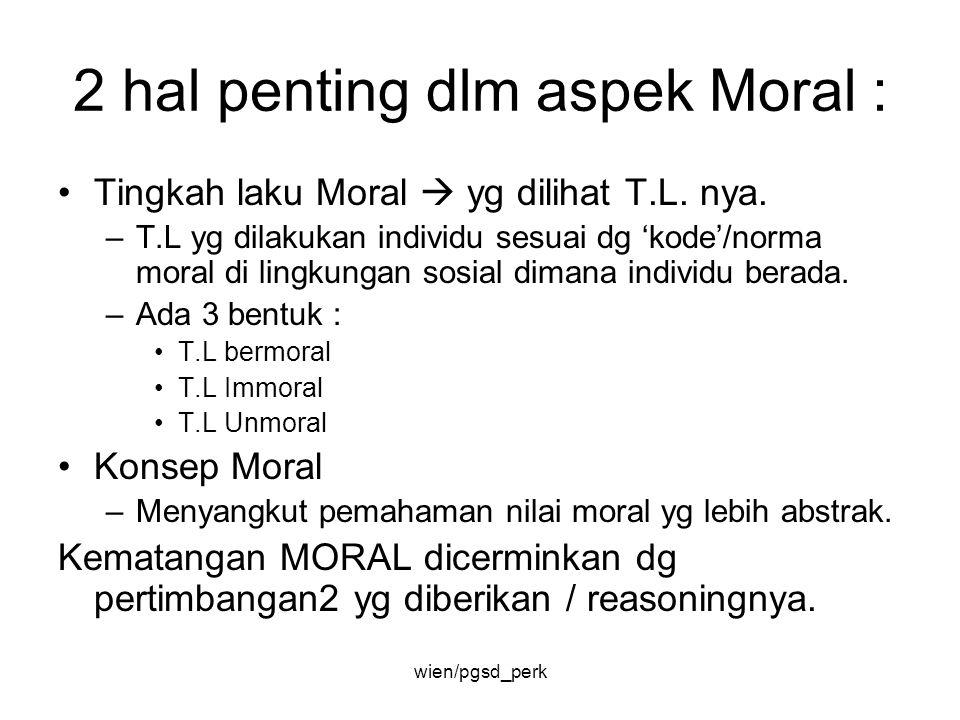 2 hal penting dlm aspek Moral : Tingkah laku Moral  yg dilihat T.L. nya. –T.L yg dilakukan individu sesuai dg 'kode'/norma moral di lingkungan sosial
