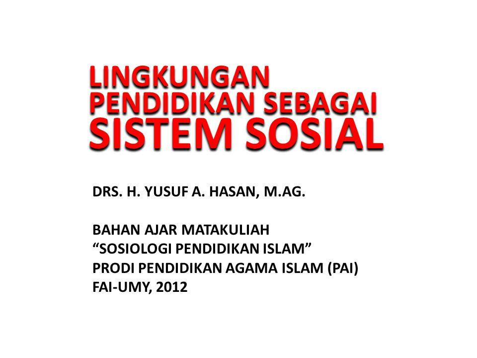 LINGKUNGAN PENDIDIKAN SEBAGAI SISTEM SOSIAL LINGKUNGAN PENDIDIKAN SEBAGAI SISTEM SOSIAL DRS.