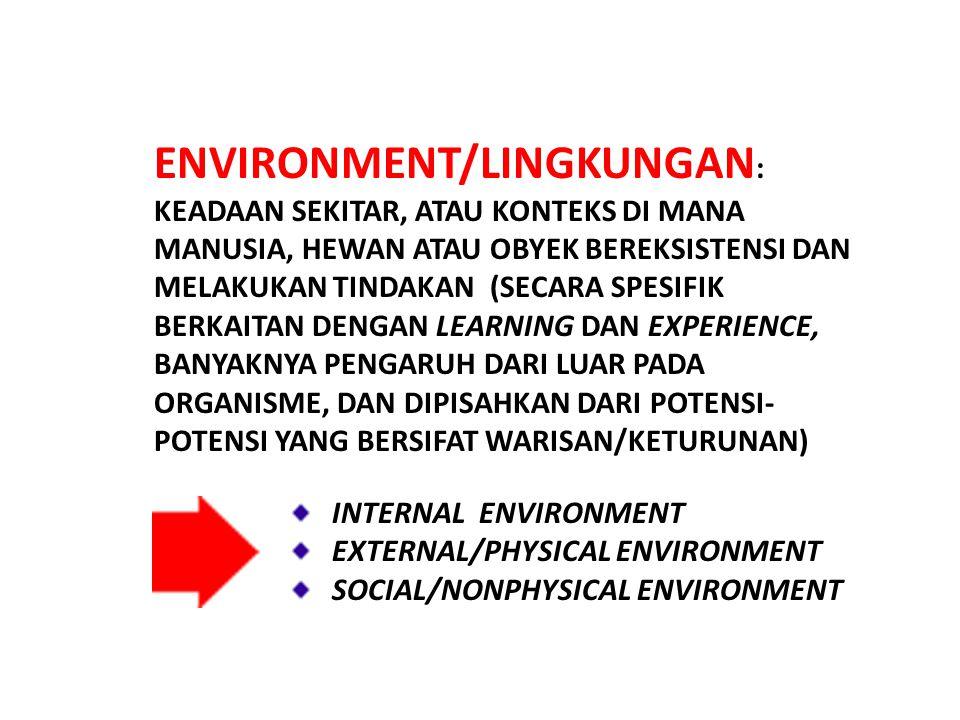ENVIRONMENT/LINGKUNGAN : KEADAAN SEKITAR, ATAU KONTEKS DI MANA MANUSIA, HEWAN ATAU OBYEK BEREKSISTENSI DAN MELAKUKAN TINDAKAN (SECARA SPESIFIK BERKAITAN DENGAN LEARNING DAN EXPERIENCE, BANYAKNYA PENGARUH DARI LUAR PADA ORGANISME, DAN DIPISAHKAN DARI POTENSI- POTENSI YANG BERSIFAT WARISAN/KETURUNAN) INTERNAL ENVIRONMENT EXTERNAL/PHYSICAL ENVIRONMENT SOCIAL/NONPHYSICAL ENVIRONMENT